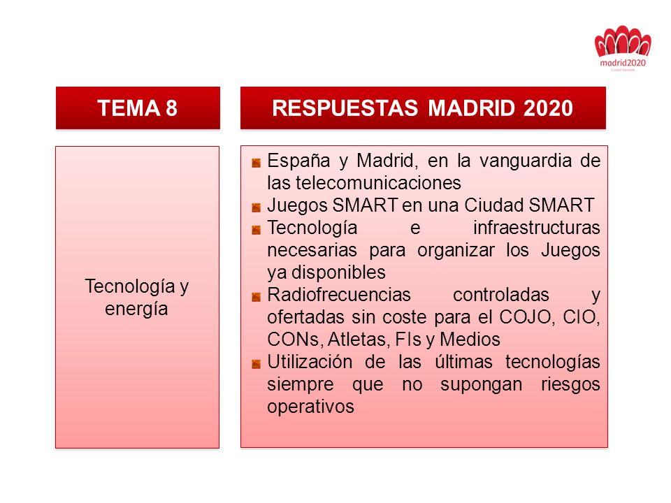 TEMA 8 RESPUESTAS MADRID 2020 Tecnología y energía España y Madrid, en la vanguardia de las telecomunicaciones Juegos SMART en una Ciudad SMART Tecnología e infraestructuras necesarias para organizar los Juegos ya disponibles Radiofrecuencias controladas y ofertadas sin coste para el COJO, CIO, CONs, Atletas, FIs y Medios Utilización de las últimas tecnologías siempre que no supongan riesgos operativos España y Madrid, en la vanguardia de las telecomunicaciones Juegos SMART en una Ciudad SMART Tecnología e infraestructuras necesarias para organizar los Juegos ya disponibles Radiofrecuencias controladas y ofertadas sin coste para el COJO, CIO, CONs, Atletas, FIs y Medios Utilización de las últimas tecnologías siempre que no supongan riesgos operativos