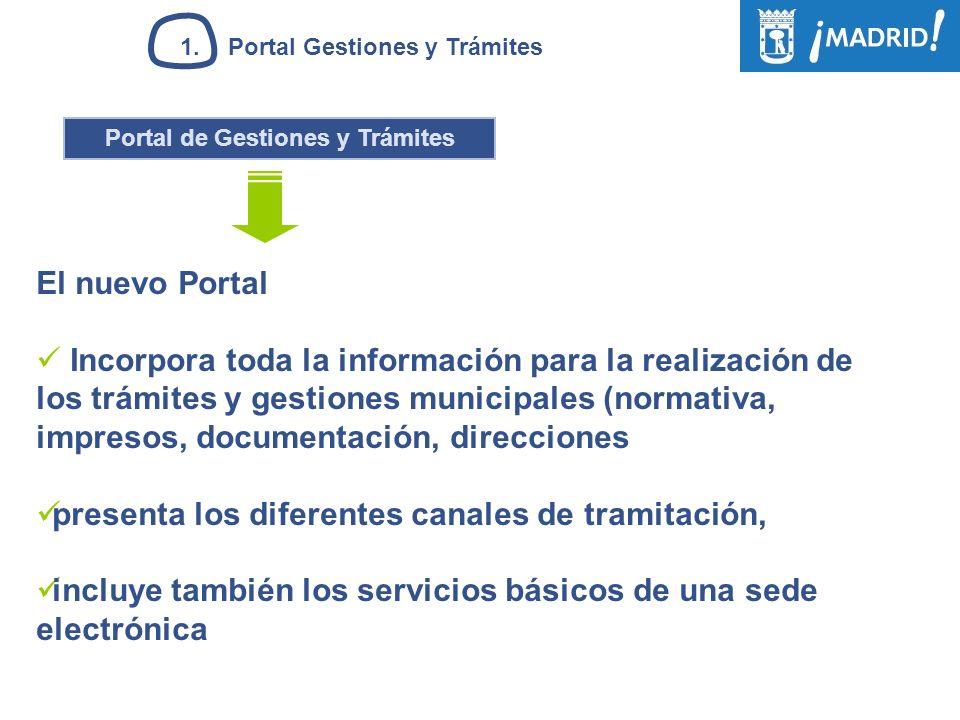 Portal de Gestiones y Trámites El nuevo Portal Incorpora toda la información para la realización de los trámites y gestiones municipales (normativa, i