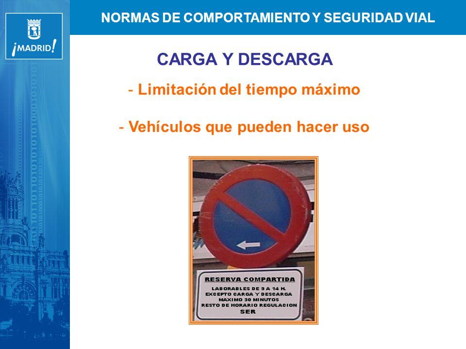 NORMAS DE COMPORTAMIENTO Y SEGURIDAD VIAL CARGA Y DESCARGA - Limitación del tiempo máximo - Vehículos que pueden hacer uso