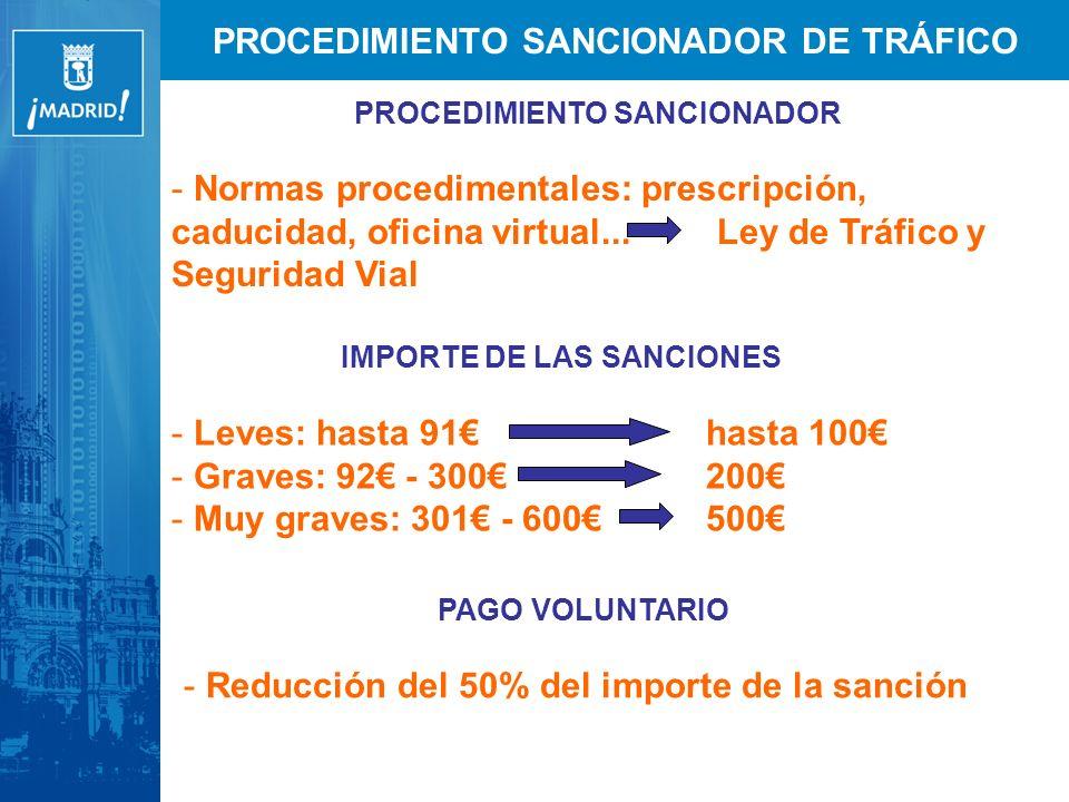 PROCEDIMIENTO SANCIONADOR DE TRÁFICO PROCEDIMIENTO SANCIONADOR - Normas procedimentales: prescripción, caducidad, oficina virtual...