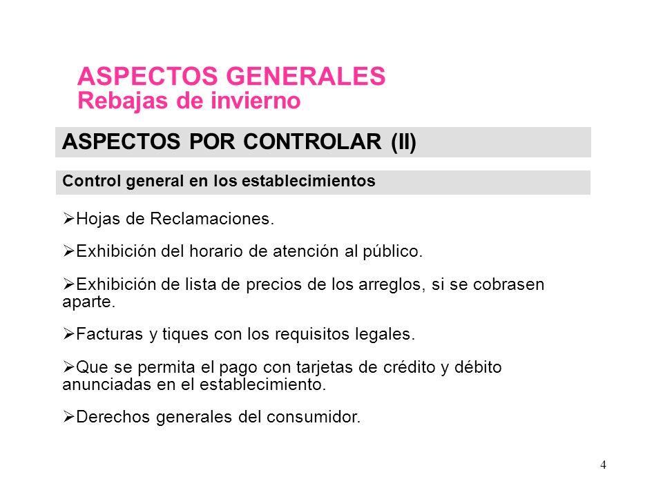 4 ASPECTOS POR CONTROLAR (II) Control general en los establecimientos Hojas de Reclamaciones.