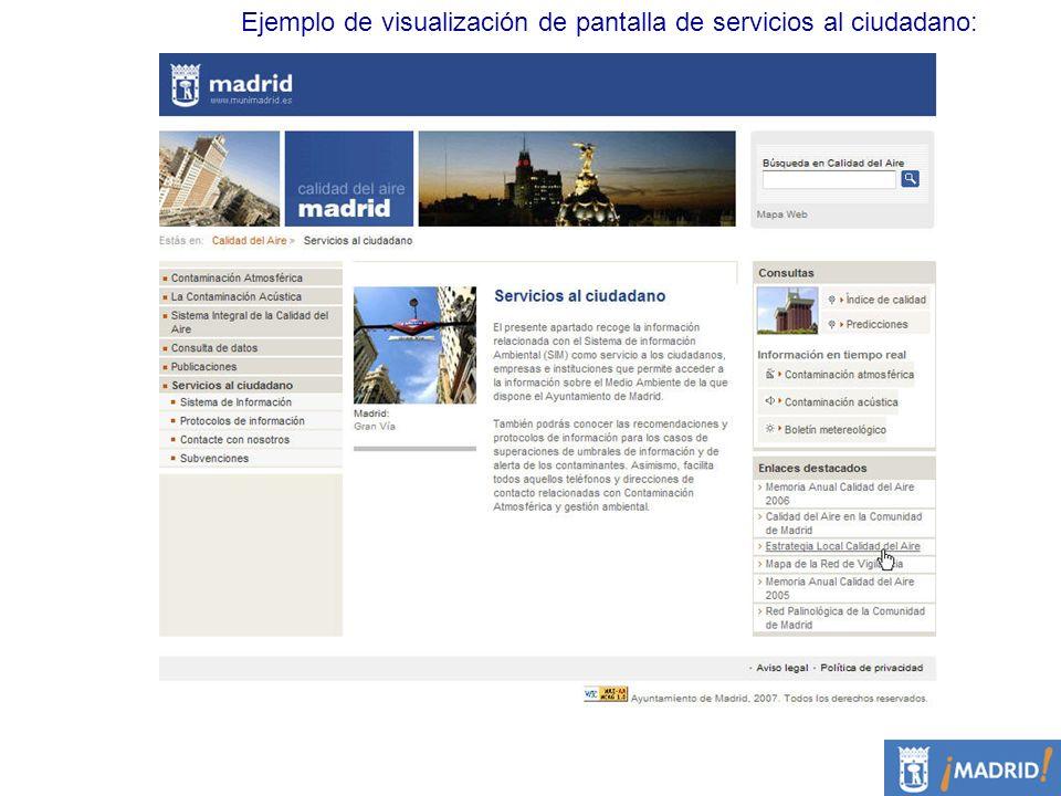 Ejemplo de visualización de pantalla de servicios al ciudadano: