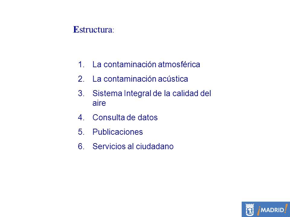 Estructura : 1.La contaminación atmosférica 2.La contaminación acústica 3.Sistema Integral de la calidad del aire 4.Consulta de datos 5.Publicaciones