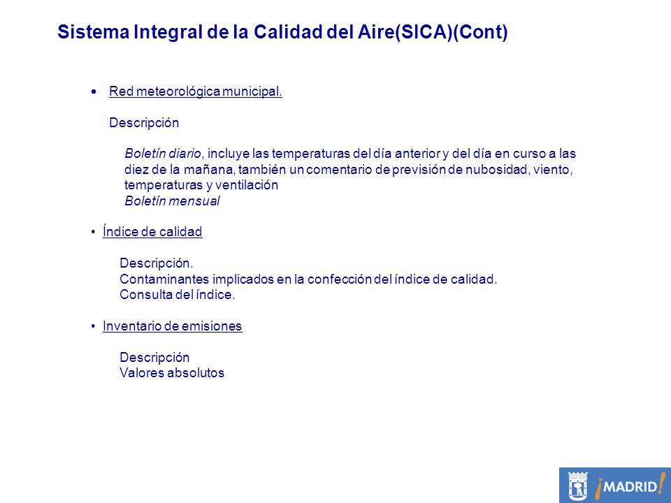 Sistema Integral de la Calidad del Aire(SICA)(Cont) Red meteorológica municipal. Descripción Boletín diario, incluye las temperaturas del día anterior