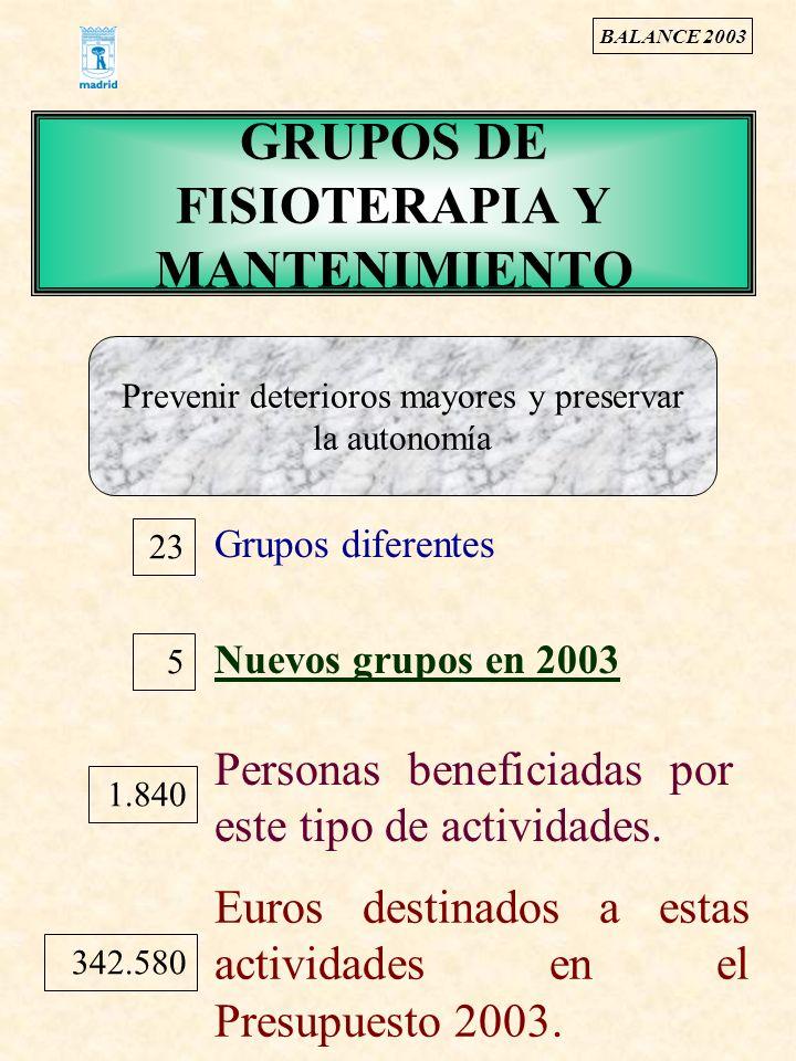 GRUPOS DE FISIOTERAPIA Y MANTENIMIENTO 23 Grupos diferentes Nuevos grupos en 2003 5 Prevenir deterioros mayores y preservar la autonomía Personas bene