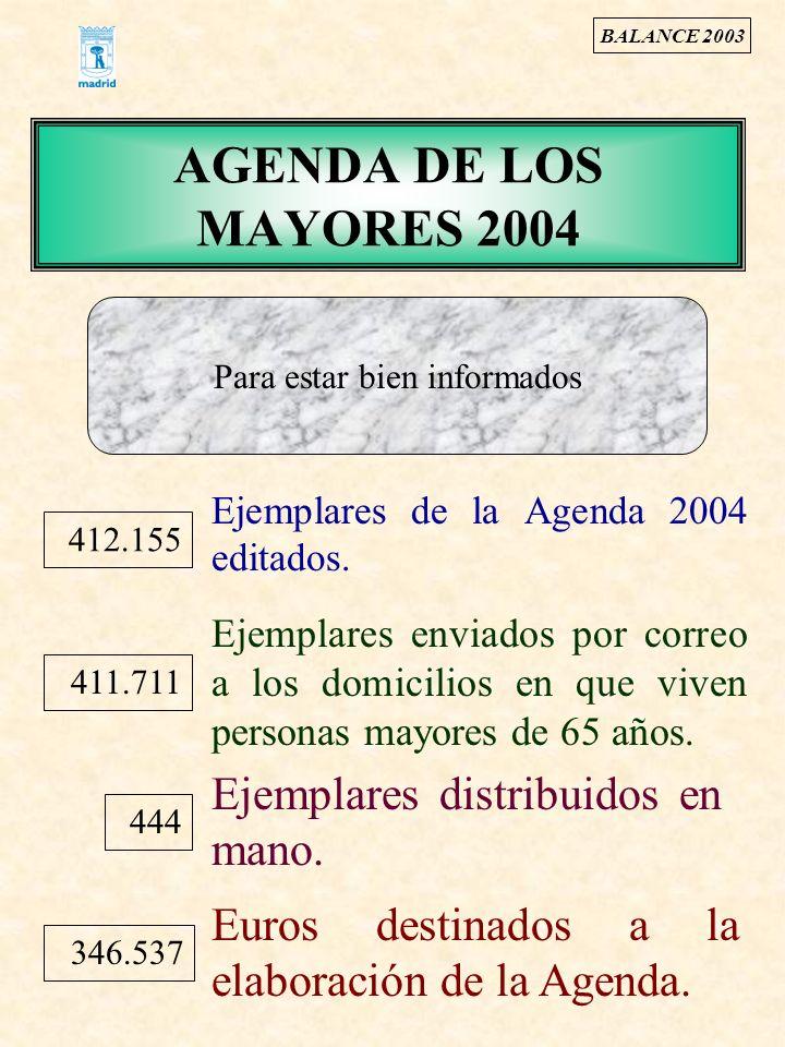 AGENDA DE LOS MAYORES 2004 412.155 Ejemplares de la Agenda 2004 editados. Ejemplares enviados por correo a los domicilios en que viven personas mayore