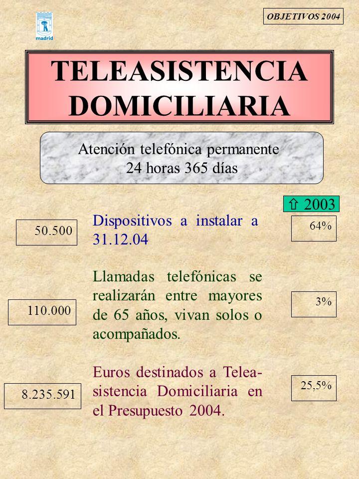 TELEASISTENCIA DOMICILIARIA 50.500 Dispositivos a instalar a 31.12.04 110.000 Llamadas telefónicas se realizarán entre mayores de 65 años, vivan solos