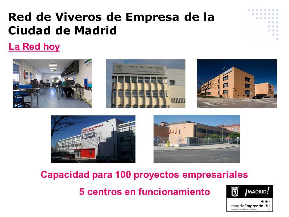 Red de Viveros de Empresa de la Ciudad de Madrid La Red hoy Capacidad para 100 proyectos empresariales 5 centros en funcionamiento