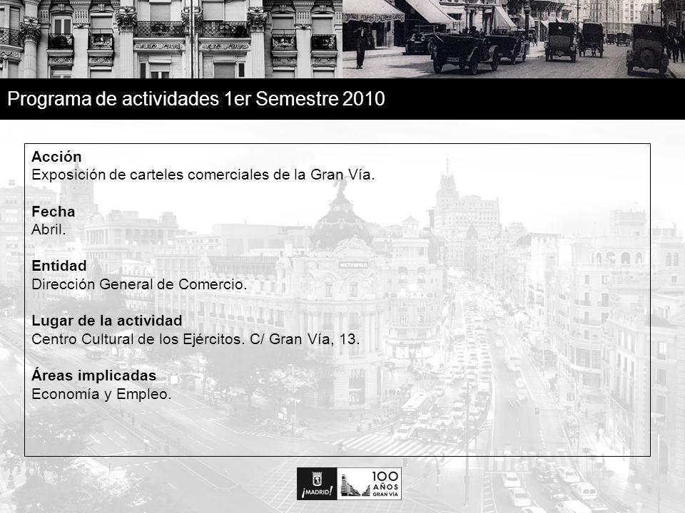 10 Programa de actividades 1er Semestre 2010 Acción Exposición de carteles comerciales de la Gran Vía.