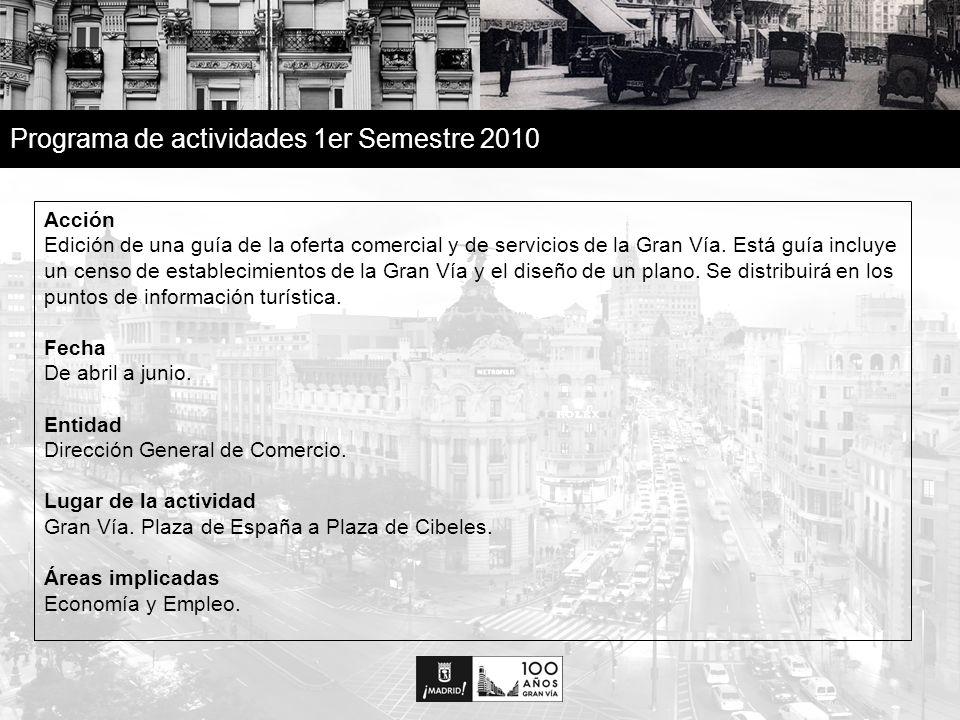 11 Programa de actividades 1er Semestre 2010 Acción Edición de una guía de la oferta comercial y de servicios de la Gran Vía.