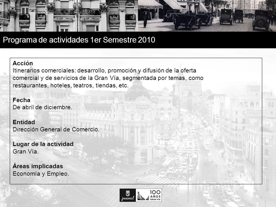 12 Programa de actividades 1er Semestre 2010 Acción Itinerarios comerciales: desarrollo, promoción y difusión de la oferta comercial y de servicios de la Gran Vía, segmentada por temas, como restaurantes, hoteles, teatros, tiendas, etc.