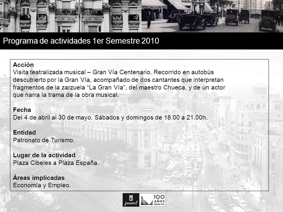 13 Programa de actividades 1er Semestre 2010 Acción Visita teatralizada musical – Gran Vía Centenario.