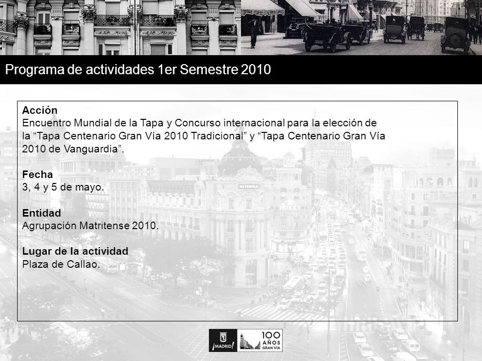 16 Programa de actividades 1er Semestre 2010 Acción Encuentro Mundial de la Tapa y Concurso internacional para la elección de la Tapa Centenario Gran Vía 2010 Tradicional y Tapa Centenario Gran Vía 2010 de Vanguardia.