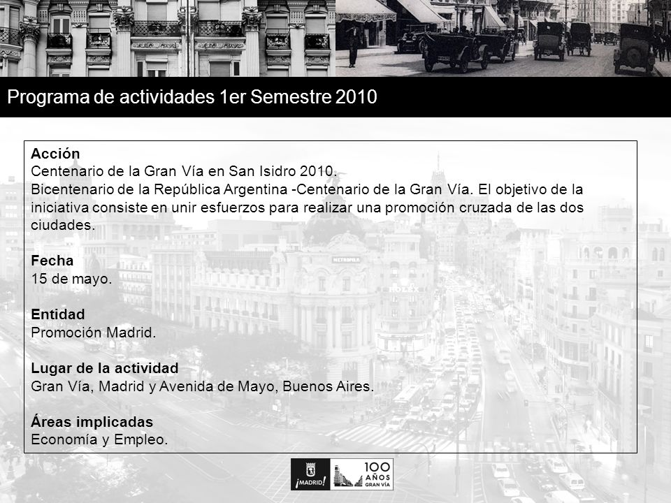 18 Programa de actividades 1er Semestre 2010 Acción Centenario de la Gran Vía en San Isidro 2010.