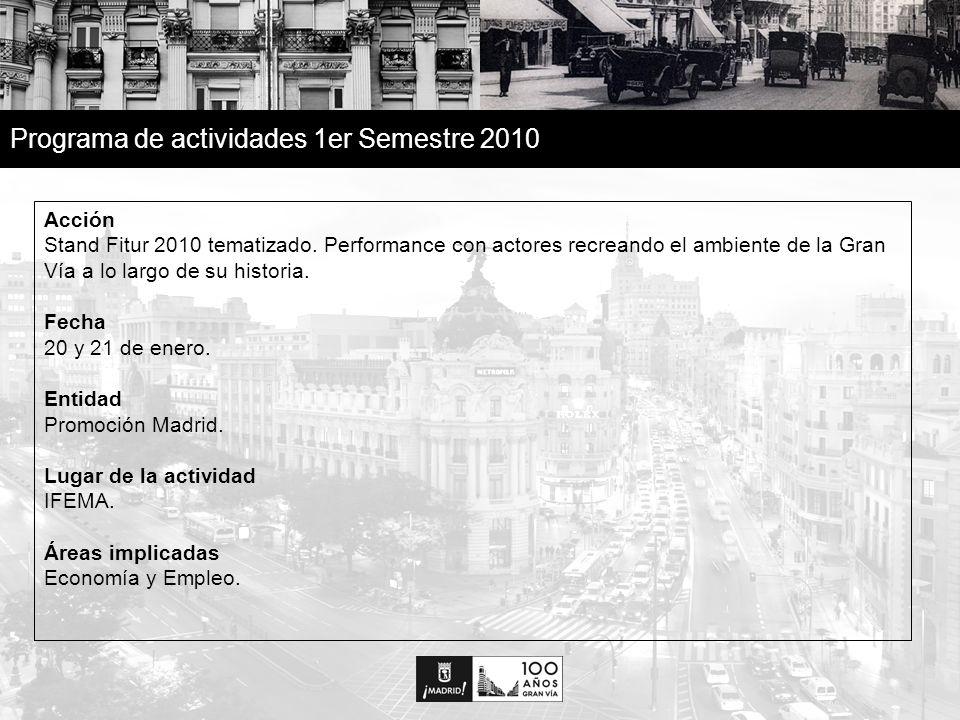 23 Programa de actividades 1er Semestre 2010 Acción La Gran Vía en la red La Gran Vía a través de sus edificios, monumentos y placas.
