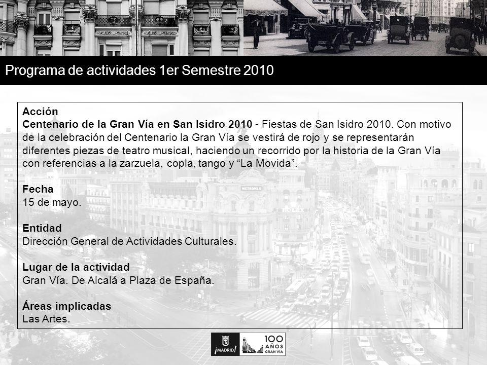 26 Programa de actividades 1er Semestre 2010 Acción Centenario de la Gran Vía en San Isidro 2010 - Fiestas de San Isidro 2010.