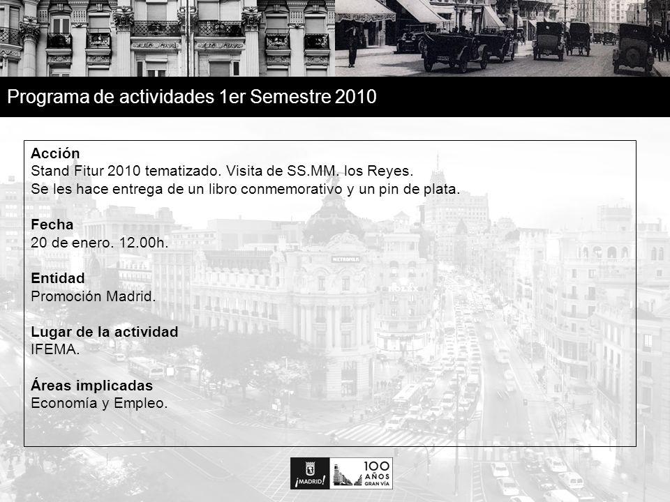 14 Programa de actividades 1er Semestre 2010 Acción Con motivo del Centenario de la Gran Vía, ONCE, a través de su tradicional producto de juego, saca un cupón conmemorativo con emisión aproximada de 9 millones de cupones a nivel nacional.