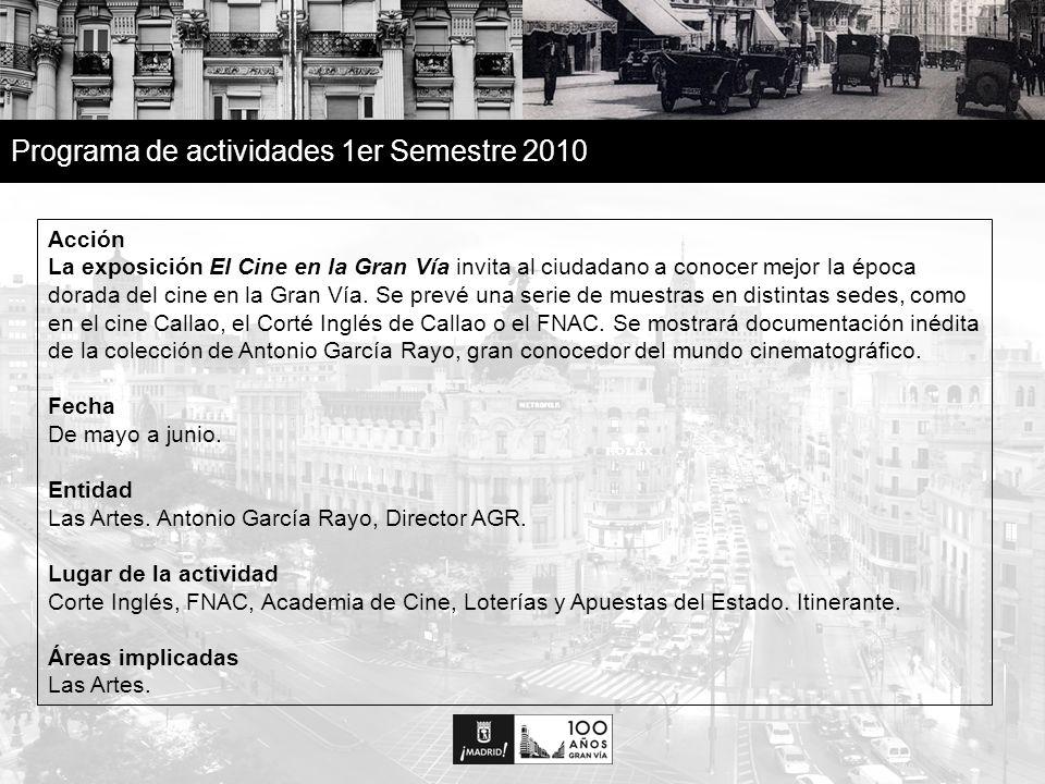 30 Programa de actividades 1er Semestre 2010 Acción La exposición El Cine en la Gran Vía invita al ciudadano a conocer mejor la época dorada del cine en la Gran Vía.