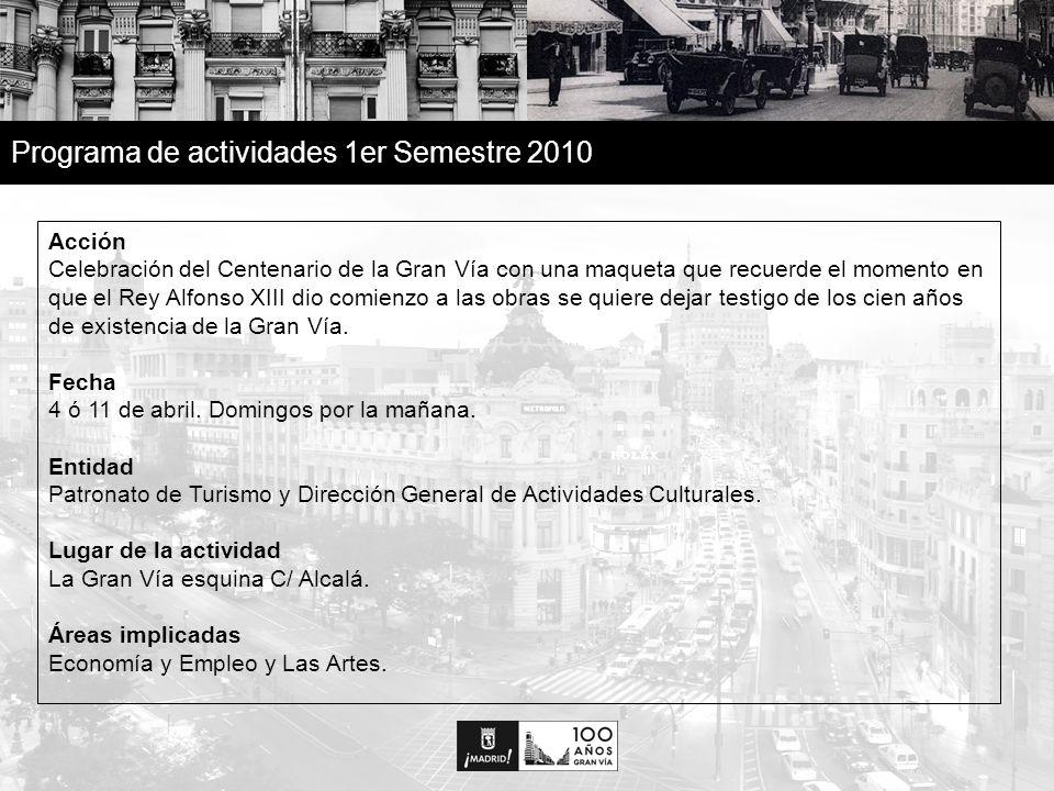 31 Programa de actividades 1er Semestre 2010 Acción Celebración del Centenario de la Gran Vía con una maqueta que recuerde el momento en que el Rey Alfonso XIII dio comienzo a las obras se quiere dejar testigo de los cien años de existencia de la Gran Vía.