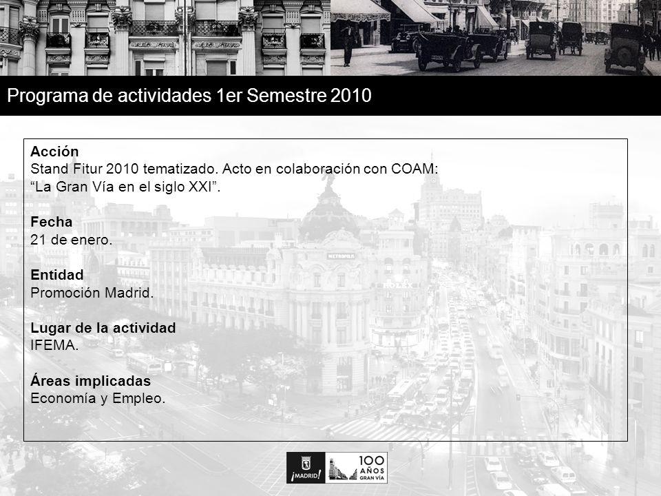 15 Programa de actividades 1er Semestre 2010 Acción Concierto El Sueño de Morfeo en la Gran Vía.