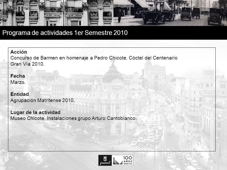19 Programa de actividades 1er Semestre 2010 Acción Centenario de la Gran Vía en San Isidro 2010 - Proyección en tres dimensiones sobre la fachada del Edificio Telefónica de Gran Vía.