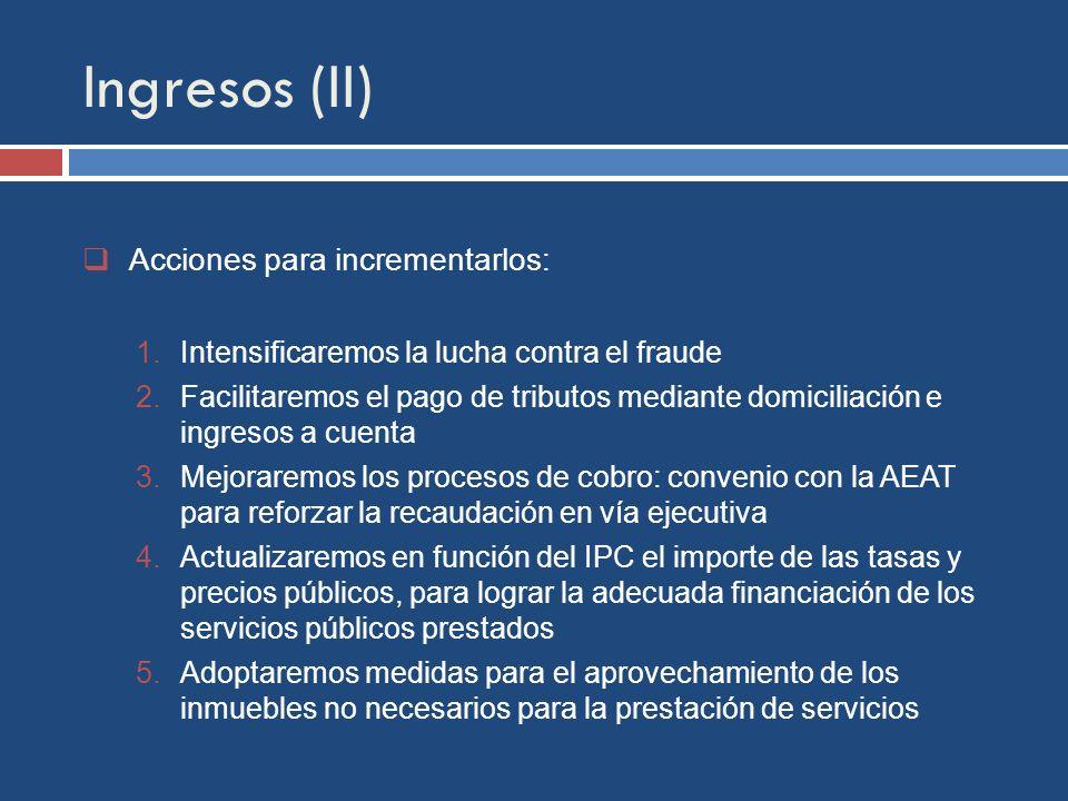 Ingresos (II) Acciones para incrementarlos: 1.Intensificaremos la lucha contra el fraude 2.Facilitaremos el pago de tributos mediante domiciliación e ingresos a cuenta 3.Mejoraremos los procesos de cobro: convenio con la AEAT para reforzar la recaudación en vía ejecutiva 4.Actualizaremos en función del IPC el importe de las tasas y precios públicos, para lograr la adecuada financiación de los servicios públicos prestados 5.Adoptaremos medidas para el aprovechamiento de los inmuebles no necesarios para la prestación de servicios