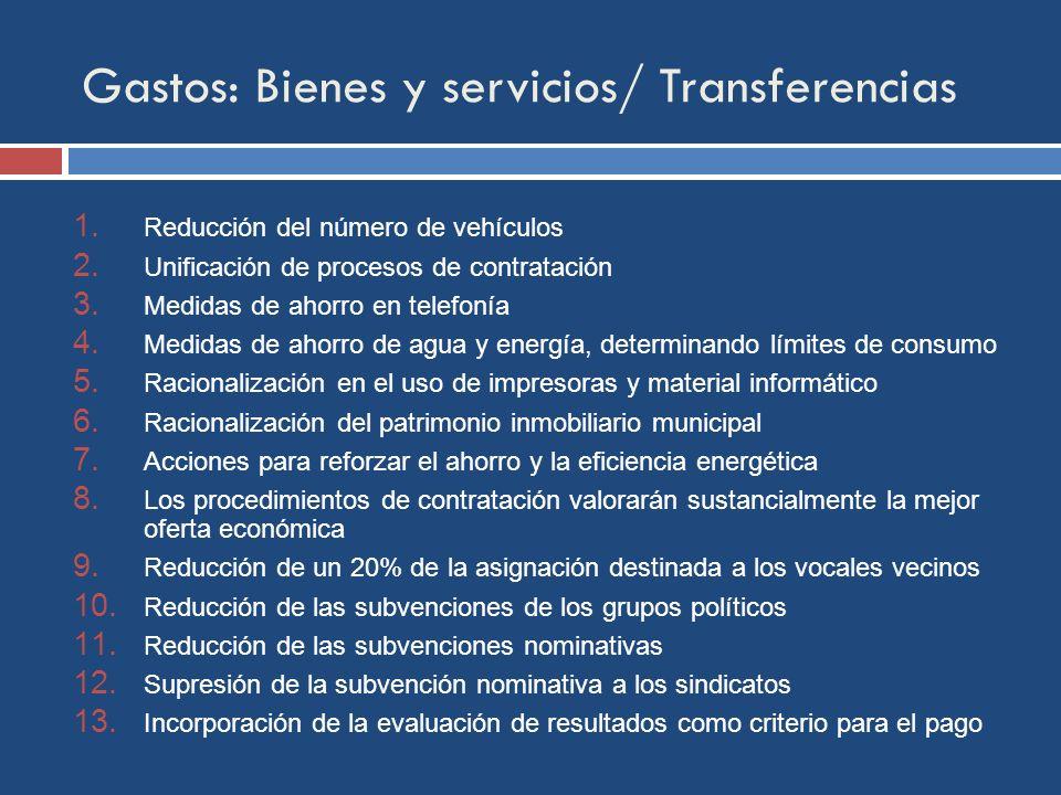 Gastos: Bienes y servicios/ Transferencias 1. Reducción del número de vehículos 2.