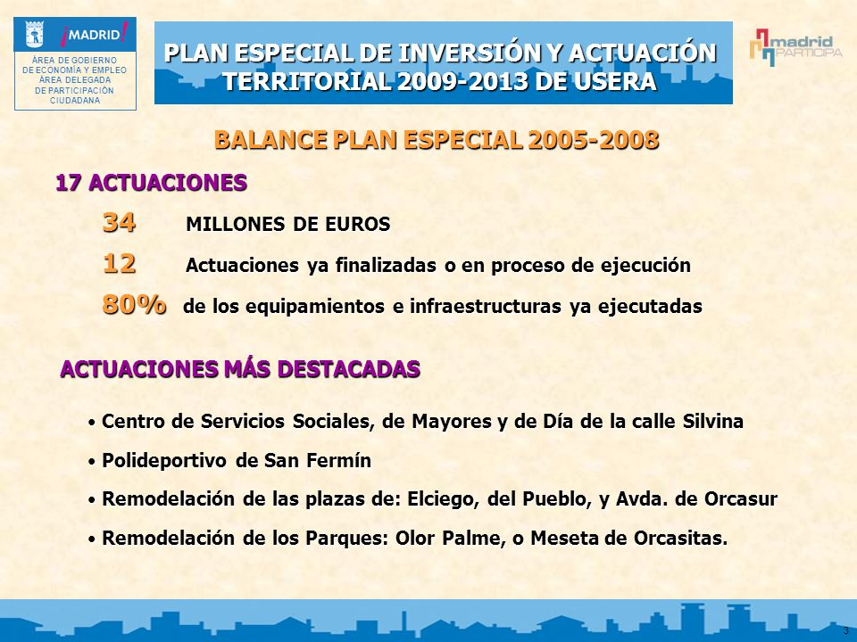 PLAN ESPECIAL DE INVERSIÓN Y ACTUACIÓN TERRITORIAL 2009-2013 DE USERA ÁREA DE GOBIERNO DE ECONOMÍA Y EMPLEO ÁREA DELEGADA DE PARTICIPACIÓN CIUDADANA 3 BALANCE PLAN ESPECIAL 2005-2008 17 ACTUACIONES 34 MILLONES DE EUROS 12 Actuaciones ya finalizadas o en proceso de ejecución 80% de los equipamientos e infraestructuras ya ejecutadas ACTUACIONES MÁS DESTACADAS Centro de Servicios Sociales, de Mayores y de Día de la calle Silvina Centro de Servicios Sociales, de Mayores y de Día de la calle Silvina Polideportivo de San Fermín Polideportivo de San Fermín Remodelación de las plazas de: Elciego, del Pueblo, y Avda.