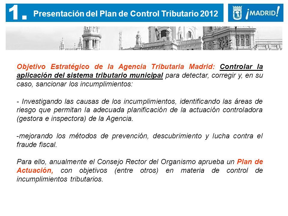 1. Objetivo Estratégico de la Agencia Tributaria Madrid: Controlar la aplicación del sistema tributario municipal para detectar, corregir y, en su cas
