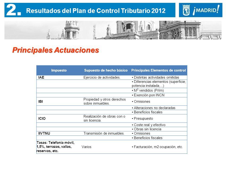2. Resultados del Plan de Control Tributario 2012 Principales Actuaciones ImpuestoSupuesto de hecho básicoPrincipales Elementos de control IAEEjercici