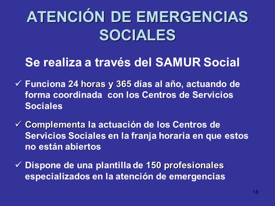 15 DATOS DE ATENCION SOCIAL PRIMARIA Y ESPECIALIZADA 850.198 personas 850.198 personas atendidas en 2007