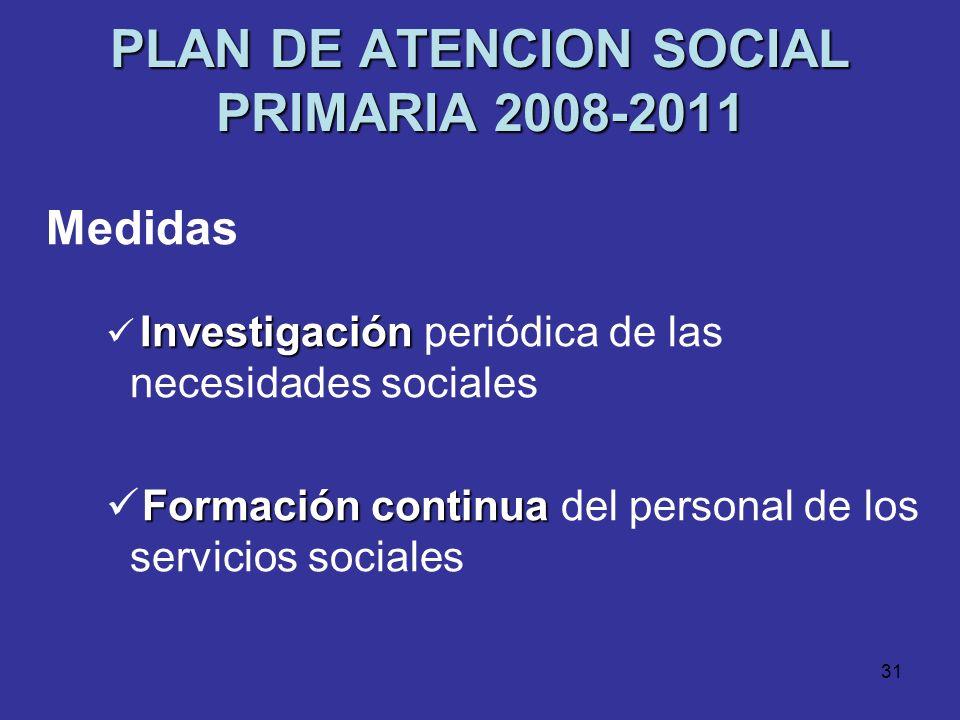30 PLAN DE ATENCION SOCIAL PRIMARIA 2008-2011 Medidas Homogeneización Homogeneización de procesos y procedimientos Catálogo de prestacionesCartas de S