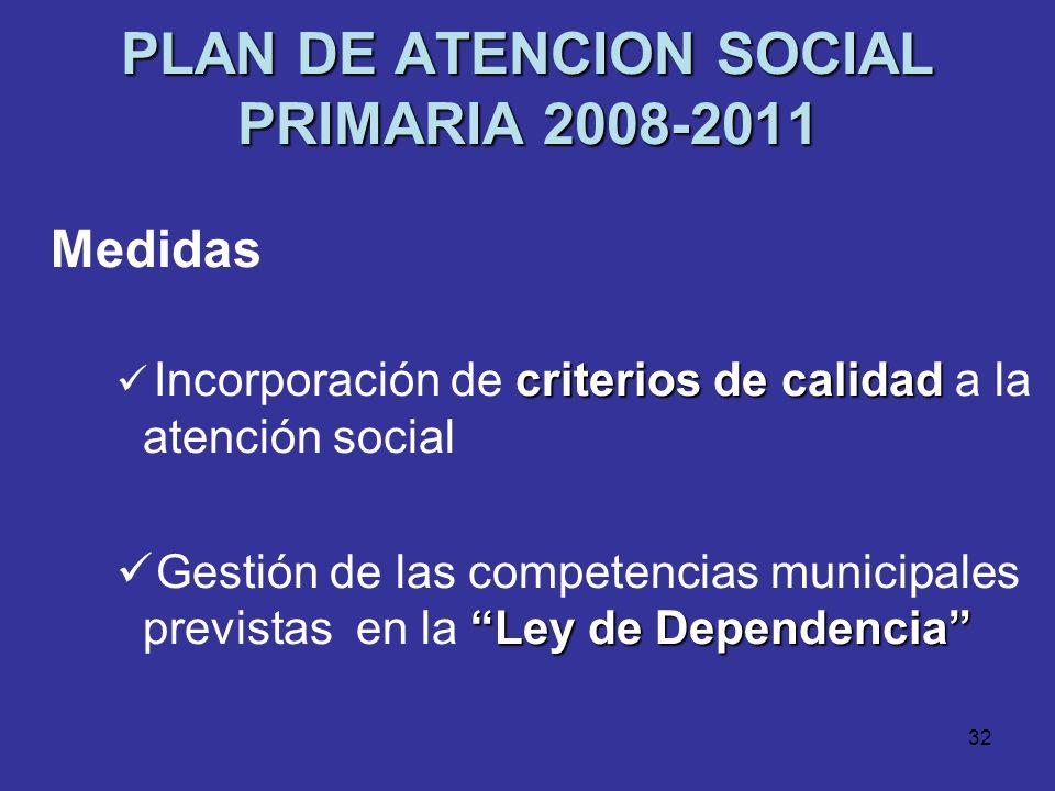31 PLAN DE ATENCION SOCIAL PRIMARIA 2008-2011 Medidas Investigación Investigación periódica de las necesidades sociales Formación continua Formación c
