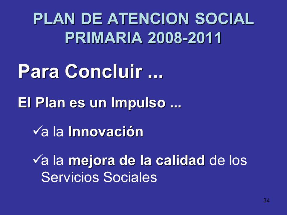 33 PLAN DE ATENCION SOCIAL PRIMARIA 2008-2011 Presupuesto del Plan a lo largo de su período de vigencia 6.236.492 2008 6.236.492 8.391.492 20098.391.4