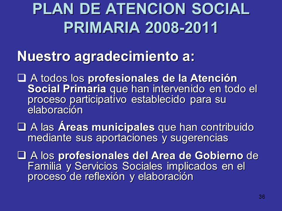 35 PLAN DE ATENCION SOCIAL PRIMARIA 2008-2011 Plan instrumento El Plan como instrumento para: CONVIVENCIA Promover la CONVIVENCIA COHESION SOCIAL y la