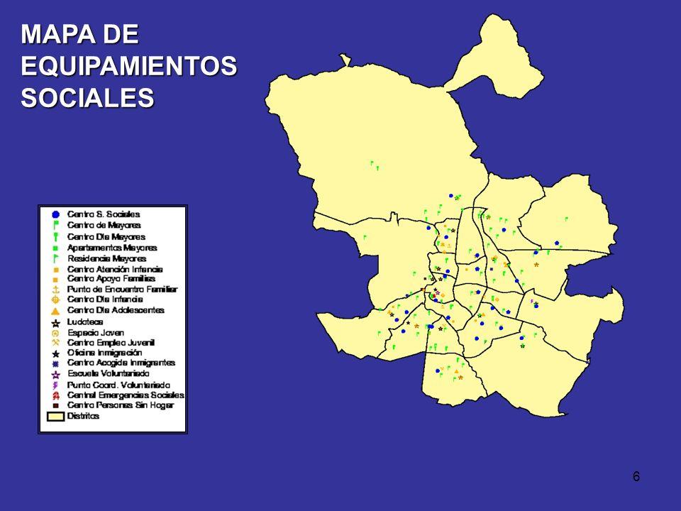 5 EQUIPAMIENTOS DE ATENCIÓN SOCIAL El Ayuntamiento de Madrid cuenta con 230 centros destinados a la atención social de la población 31 centros destina
