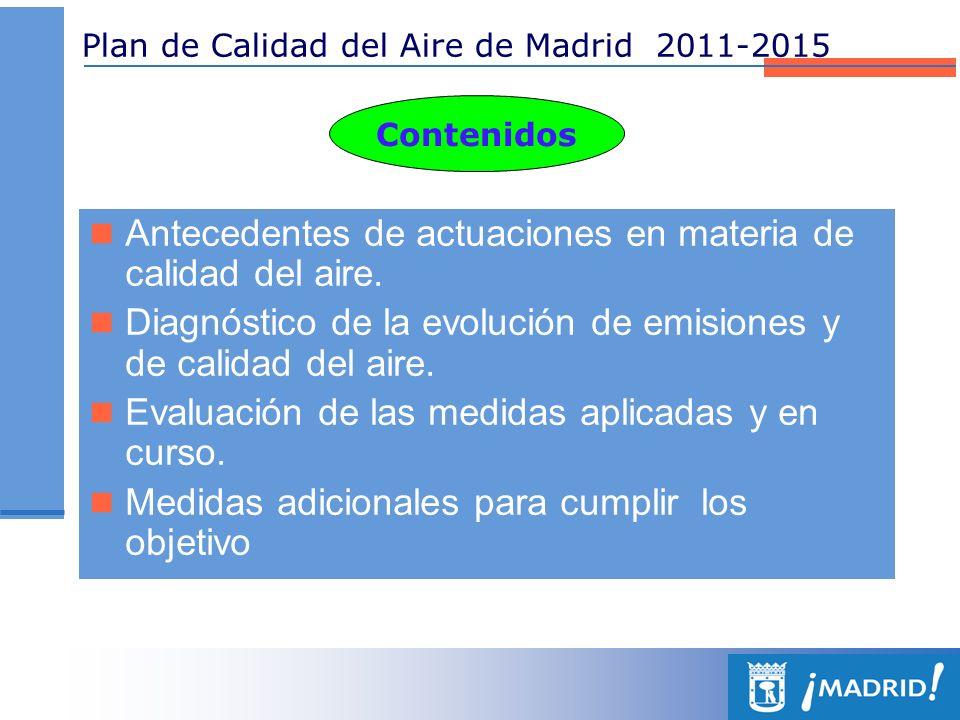 Plan de Calidad del Aire de Madrid 2011-2015 Contenidos Antecedentes de actuaciones en materia de calidad del aire. Diagnóstico de la evolución de emi