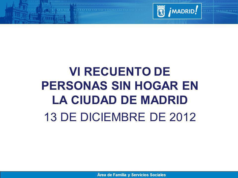 VI RECUENTO DE PERSONAS SIN HOGAR EN LA CIUDAD DE MADRID 13 DE DICIEMBRE DE 2012 Área de Familia y Servicios Sociales