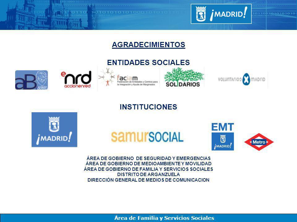 Área de Familia y Servicios Sociales AGRADECIMIENTOS ENTIDADES SOCIALES INSTITUCIONES ÁREA DE GOBIERNO DE SEGURIDAD Y EMERGENCIAS ÁREA DE GOBIERNO DE
