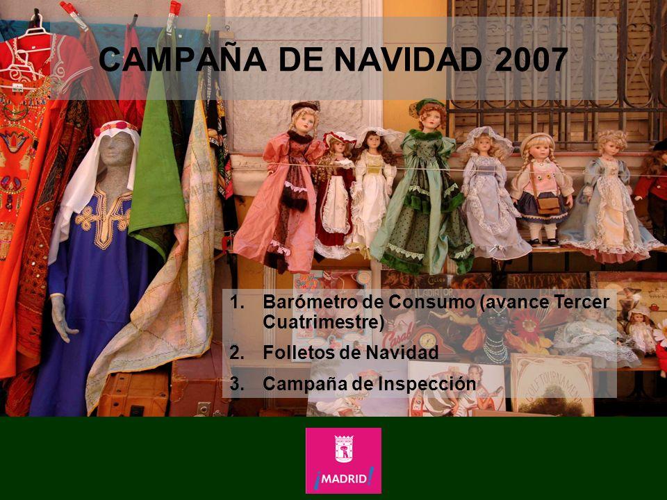 CAMPAÑA DE NAVIDAD 2007 1.Barómetro de Consumo (avance Tercer Cuatrimestre) 2.Folletos de Navidad 3.Campaña de Inspección