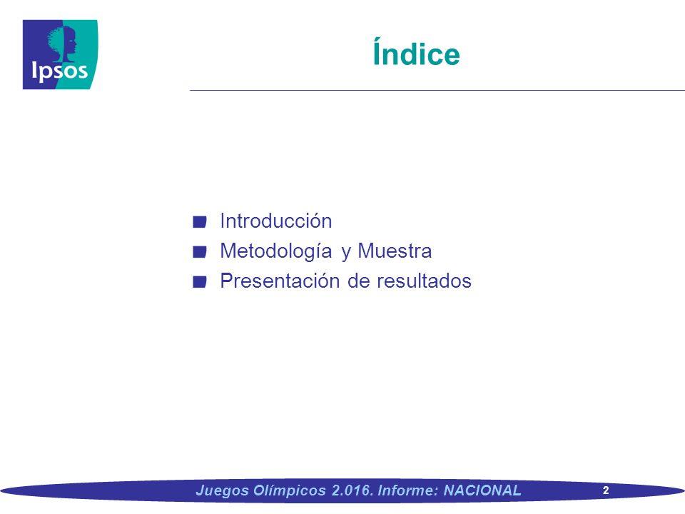 2 Juegos Olímpicos 2.016. Informe: NACIONAL Índice Introducción Metodología y Muestra Presentación de resultados