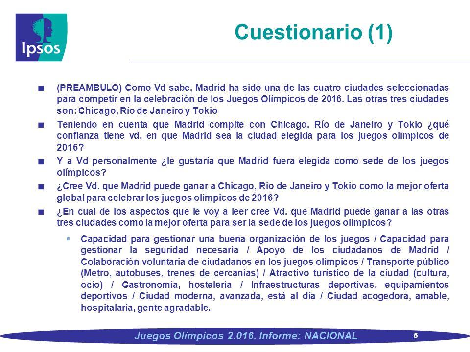 5 Juegos Olímpicos 2.016. Informe: NACIONAL (PREAMBULO) Como Vd sabe, Madrid ha sido una de las cuatro ciudades seleccionadas para competir en la cele