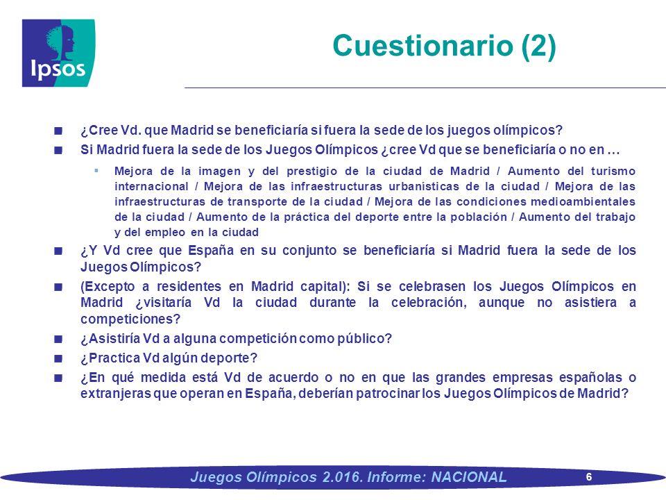 6 Juegos Olímpicos 2.016. Informe: NACIONAL ¿Cree Vd. que Madrid se beneficiaría si fuera la sede de los juegos olímpicos? Si Madrid fuera la sede de
