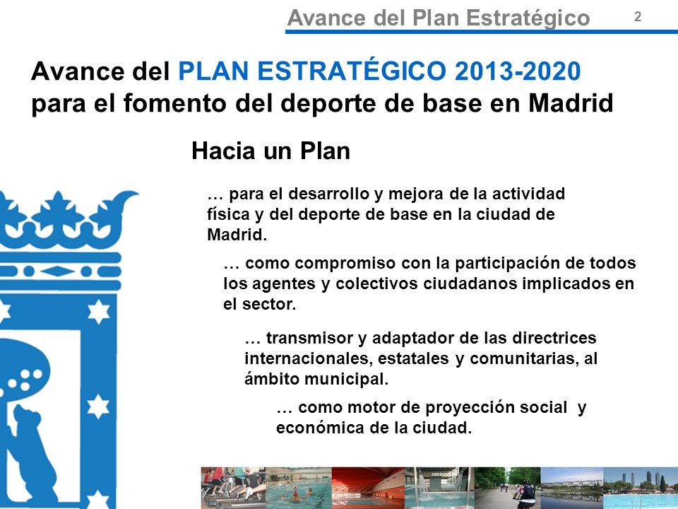 3 Misión Avance del Plan Estratégico 3 PLAN ESTRATÉGICO 2013-2020 para el fomento del deporte de base en Madrid Fomentar e impulsar la actividad física y deportiva entre los ciudadanos madrileños como actividad que mejora la salud de los ciudadanos y como elemento de integración y cohesión social y cultural, a través de los valores que le son inherentes