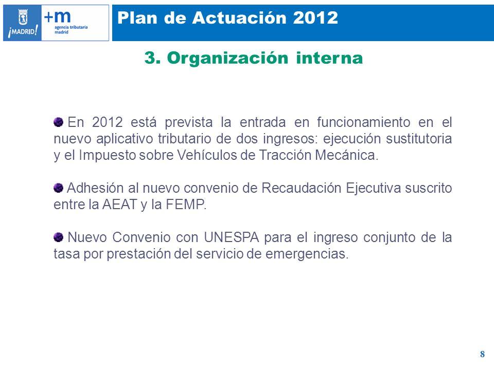 8 Plan de Actuación 2012 3. Organización interna En 2012 está prevista la entrada en funcionamiento en el nuevo aplicativo tributario de dos ingresos: