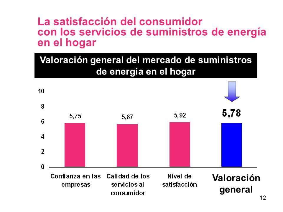 12 La satisfacción del consumidor con los servicios de suministros de energía en el hogar Valoración general del mercado de suministros de energía en