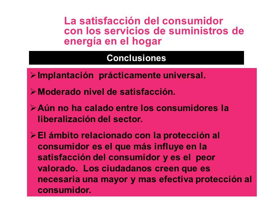 13 La satisfacción del consumidor con los servicios de suministros de energía en el hogar Conclusiones Implantación prácticamente universal. Moderado