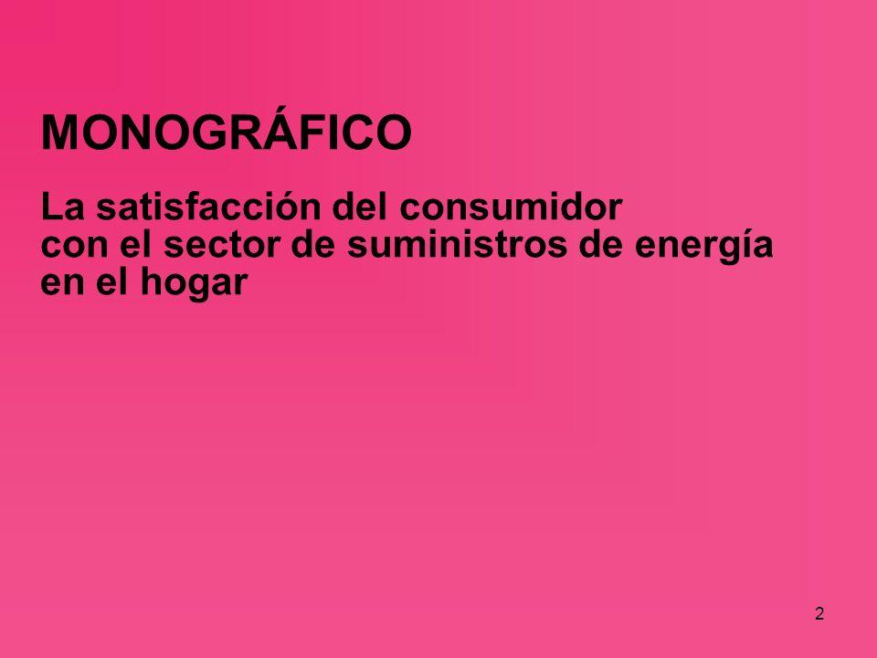 2 MONOGRÁFICO La satisfacción del consumidor con el sector de suministros de energía en el hogar