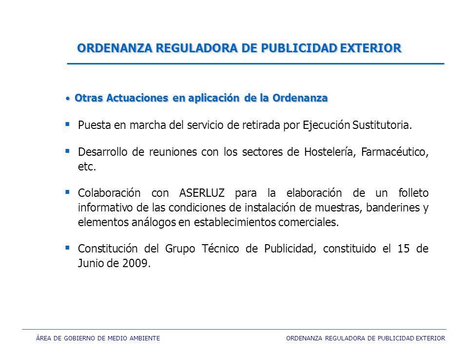 ÁREA DE GOBIERNO DE MEDIO AMBIENTE ORDENANZA REGULADORA DE PUBLICIDAD EXTERIOR Puesta en marcha del servicio de retirada por Ejecución Sustitutoria. D