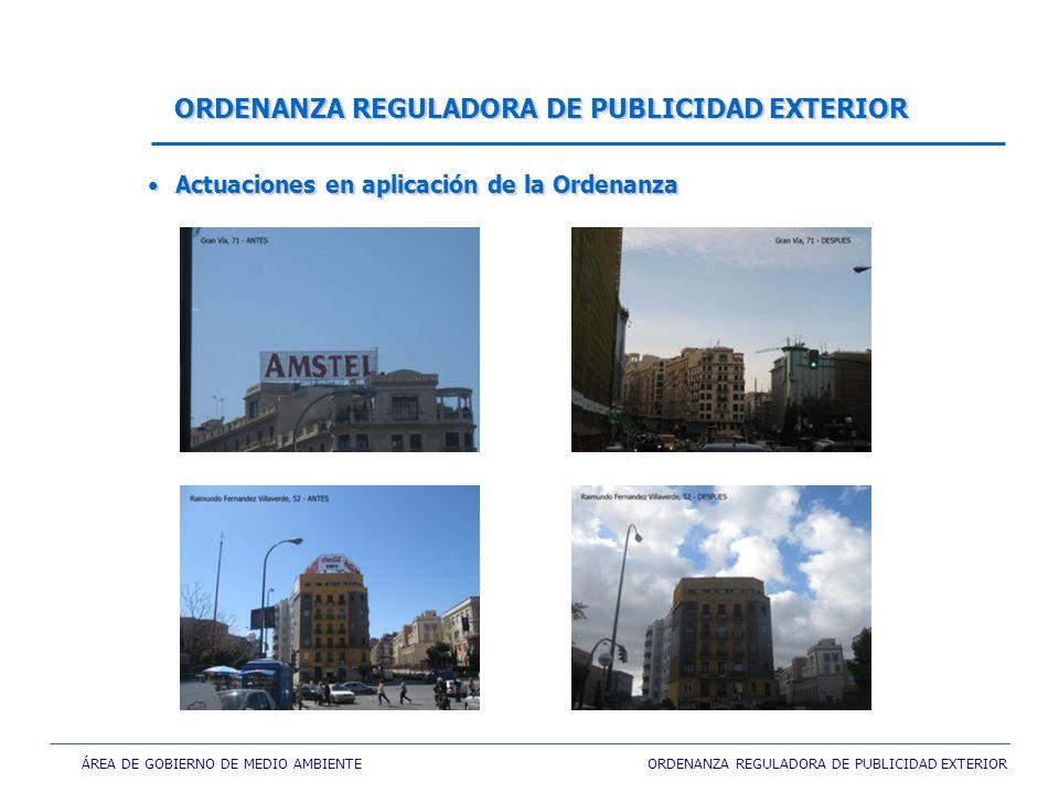 ÁREA DE GOBIERNO DE MEDIO AMBIENTE ORDENANZA REGULADORA DE PUBLICIDAD EXTERIOR ORDENANZA REGULADORA DE PUBLICIDAD EXTERIOR Actuaciones en aplicación d